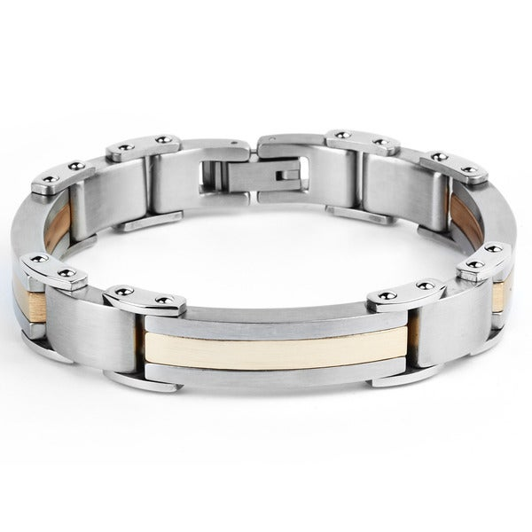 Crucible Rose Plated Stainless Steel Men's Brushed Finish Bracelet