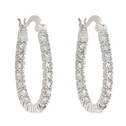 Kate Bissett Brass Round-Cut Clear Cubic Zirconia Hoop-Style Earrings