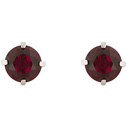 Kate Bissett Rhodiumplated Brass Round-cut Created Ruby Stud Earrings