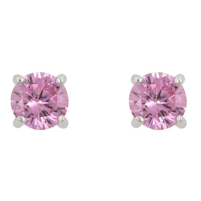 Kate Bissett Sterling Silver Pink Cubic Zirconia Stud Earrings