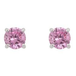 Kate Bissett Sterling Silver Pink Cubic Zirconia Stud Earrings