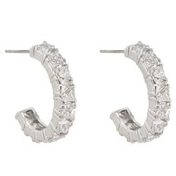 Kate Bissett Rhodiumplated Trillion-cut Cubic Zirconia Hoop Earrings