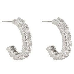 Kate Bissett Rhodiumplated Trillion-cut Cubic Zirconia Hoop Earrings