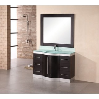 Design Element Tuscany 48 Inch Single Sink Glass Top Vanity