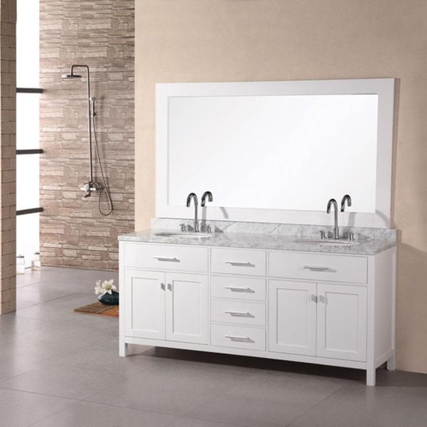 Design Element London 72-inch Carrara Marble White Double Sink Bathroom Vanity