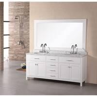 Design Element London 72-inch Carrara Marble White Double Sink Bathroom Vanity