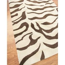 nuLOOM Handmade Animal Pattern Brown/ Ivory Zebra Wool Rug (4' x 6') - Thumbnail 1