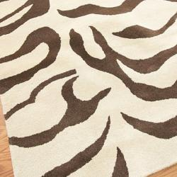 nuLOOM Handmade Animal Pattern Brown/ Ivory Zebra Wool Rug (4' x 6') - Thumbnail 2