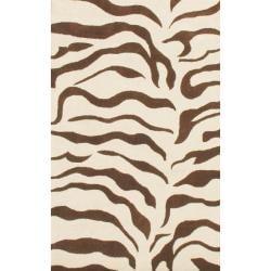Thumbnail 1, nuLOOM Handmade Animal Pattern Brown/ Ivory Zebra Wool Rug - 4' x 6'.