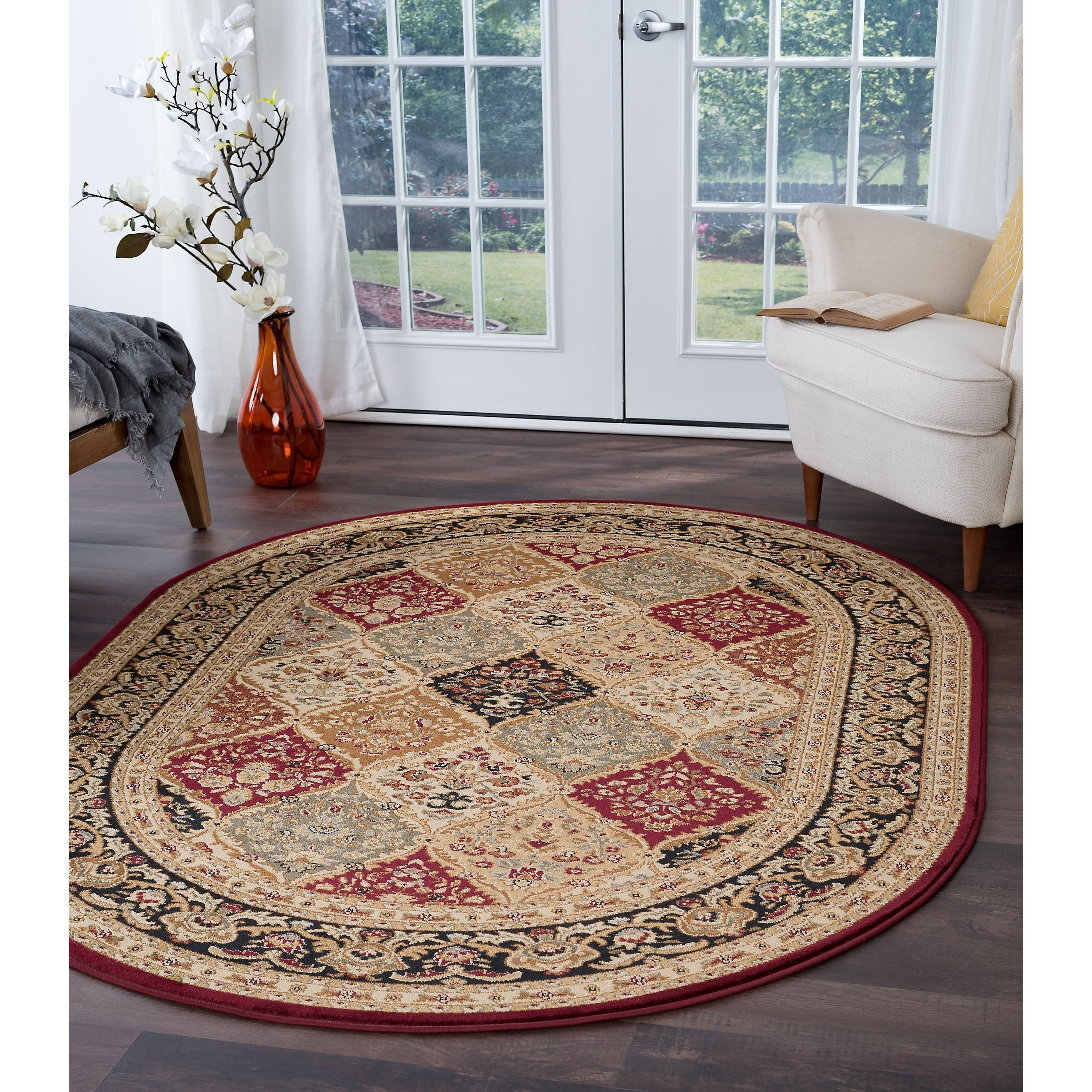 Alise Rugs Soho Traditional Oriental Oval Area Rug 5 3 X 7 3