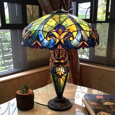 Chloe Tiffany Style Double Lit 2 and 1-light Table Lamp