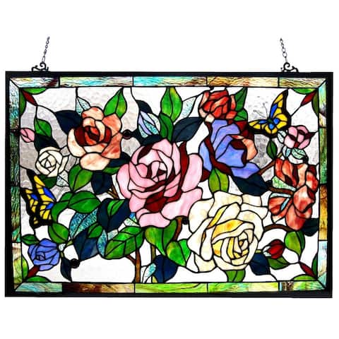 Chloe Floral Design Glass Bronze Window Panel
