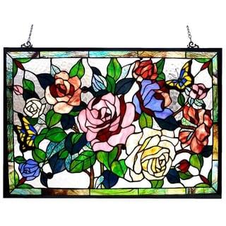 Chloe Floral Design Glass Bronze Window Panel