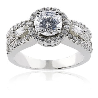 Icz Stonez Sterling Silver Round Cubic Zirconia Engagement Ring