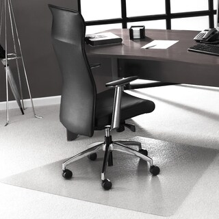 "Cleartex Ultimat Corner Workstation Chair Mat Polycarbonate For Low & Medium Pile Carpets (up to 1/2"") Size 48"" x 60"""