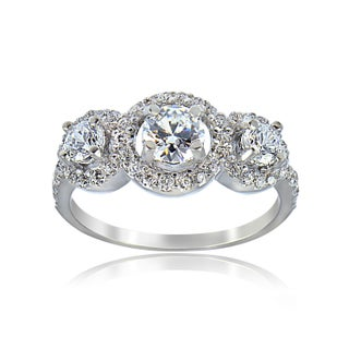 Icz Stonez Sterling Silver Cubic Zirconia Engagement Ring (Option: 7)