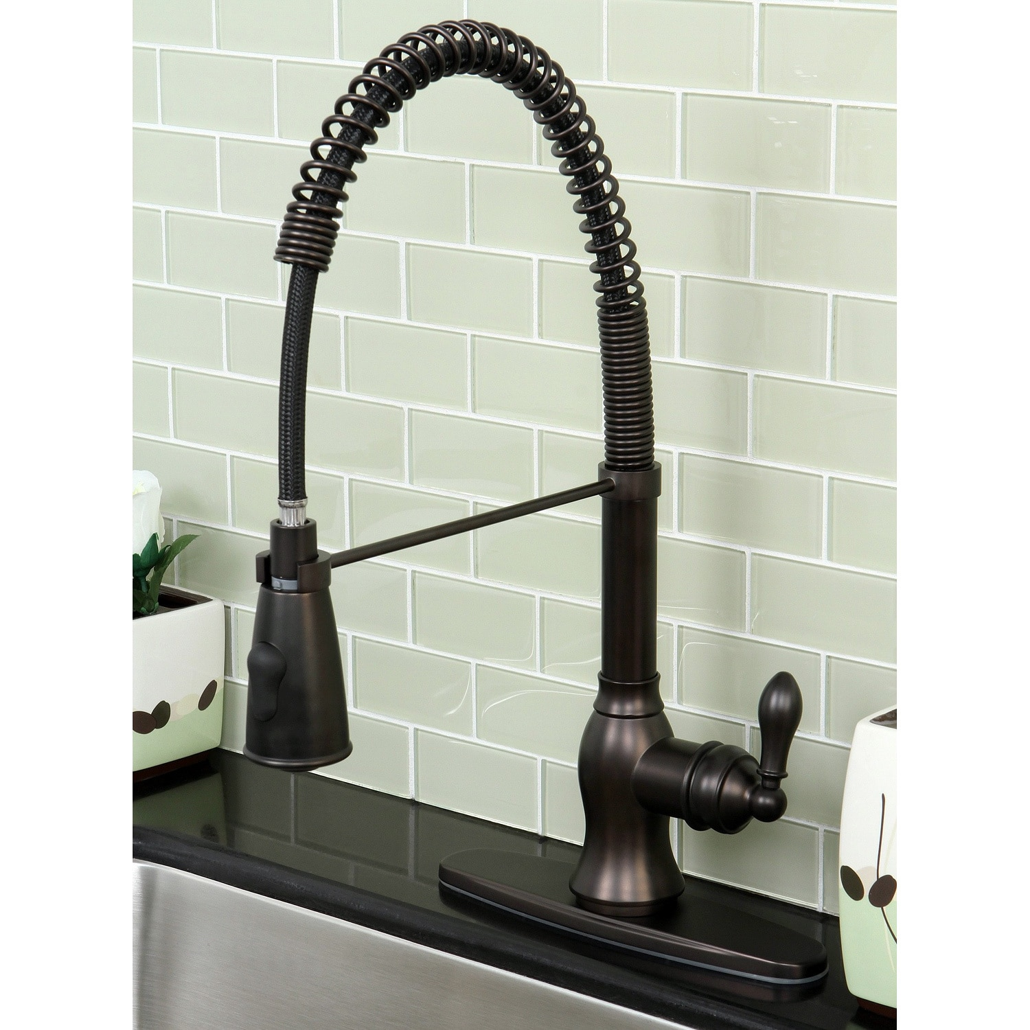 Shop Black Friday Deals On American Classic Modern Oil Rubbed Bronze Spiral Pull Down Kitchen Faucet Overstock 5266825