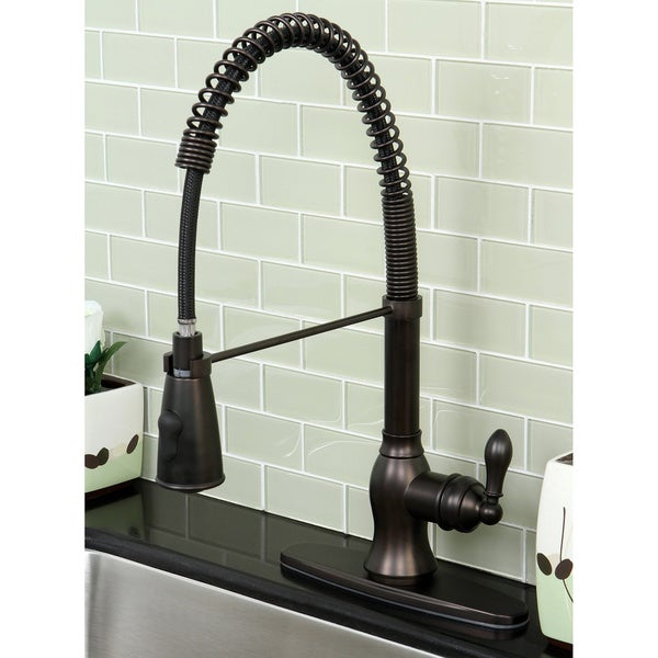 faucet kitchen nickel levi spring brushed front spout down pull with