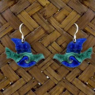 Handmade Enamel on Copper Peace Dove Earrings (Chile)