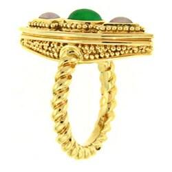 Mason Kay 18k Yellow Gold Natural Green and Lavender Jadeite Ring - Thumbnail 1