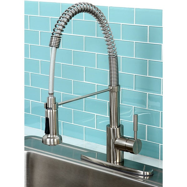 Shop Concord Modern Satin Nickel Spiral Pulldown Kitchen Faucet - On ...