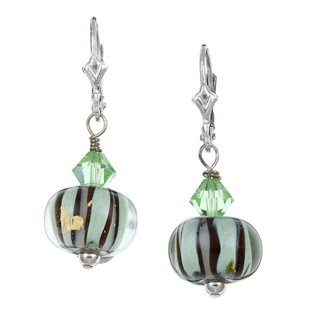 Lola's Jewelry Sterling Silver Art Glass Sage Green and Black Earrings