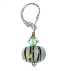 Lola's Jewelry Sterling Silver Art Glass Sage Green and Black Earrings - Thumbnail 1