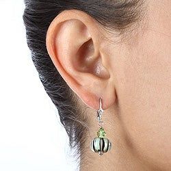 Lola's Jewelry Sterling Silver Art Glass Sage Green and Black Earrings - Thumbnail 2
