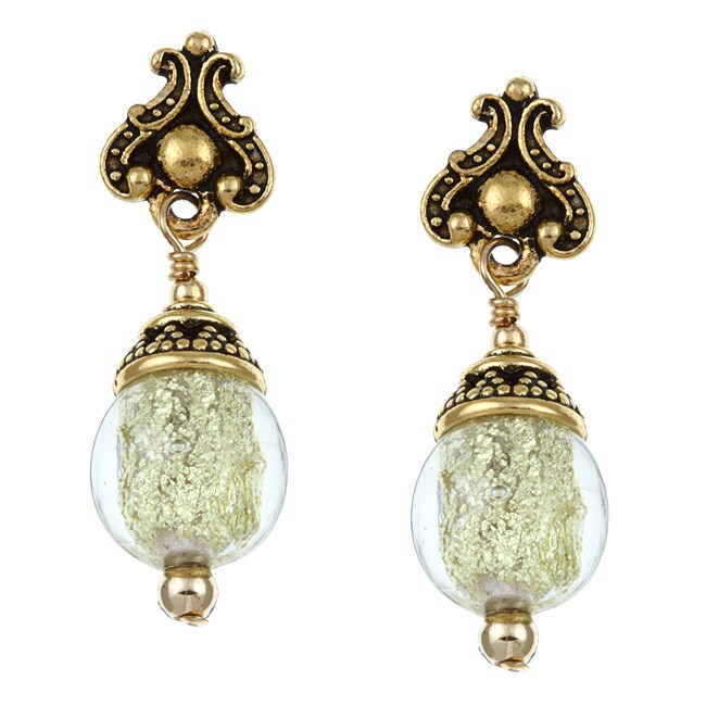 Lola's Jewelry Goldtone Art Glass Champagne/ Silver Foil Earrings