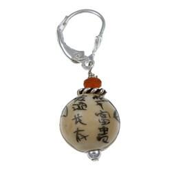 Lola's Jewelry Sterling Silver Asian Ceramic Bead Earrings - Thumbnail 1
