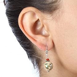 Lola's Jewelry Sterling Silver Asian Ceramic Bead Earrings - Thumbnail 2