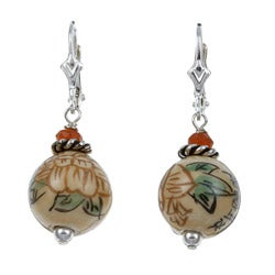 Lola's Jewelry Sterling Silver Asian Ceramic Bead Earrings