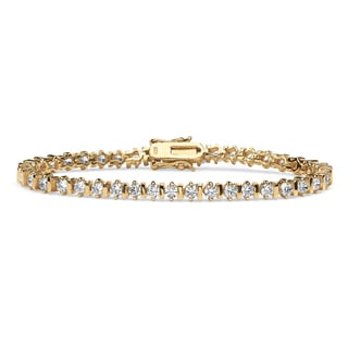 "5 TCW Round Cubic Zirconia Tennis Bracelet 18k Gold over Sterling Silver 7 1/4"" Classic CZ"