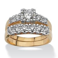 Yellow Gold-plated Cubic Zirconia Two Tone Bridal Ring Set - White