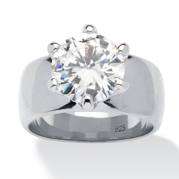 4 TCW Round Cubic Zirconia Solitaire Engagement Ring in Sterling Silver Glam CZ
