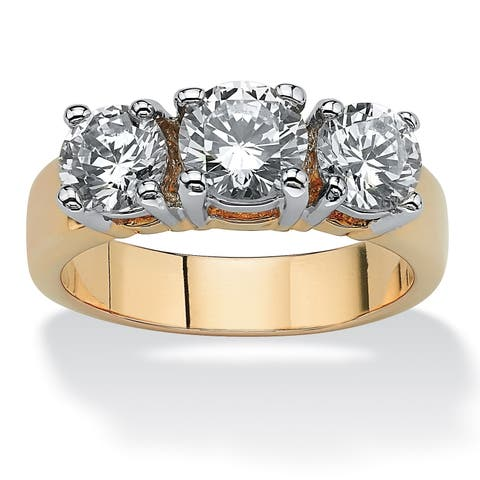 Yellow Gold-plated Cubic Zirconia Two Tone 3-Stone Bridal Ring - White