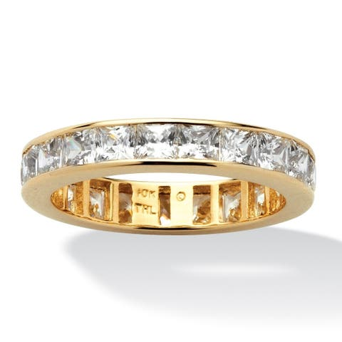 10K Yellow Gold Cubic Zirconia Channel Set Eternity- Bridal Ring - White