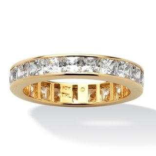 PalmBeach 5.29 TCW Princess-Cut Cubic Zirconia Eternity Band in 10k Gold Classic CZ