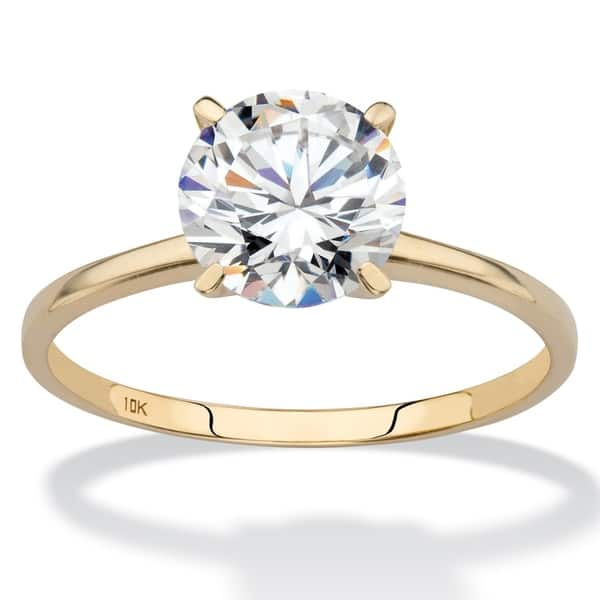 10k Yellow Gold Cubic Zirconia Solitaire Engagement Ring On Sale Overstock 5267572