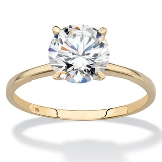 PalmBeach 2 TCW Round Cubic Zirconia Solitaire Engagement Ring in 10k Gold Classic CZ
