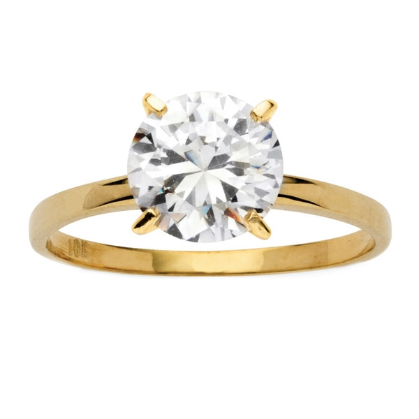 2 TCW Round Cubic Zirconia Solitaire Engagement Ring in 10k Gold Classic CZ