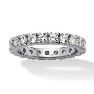 2 TCW Round Cubic Zirconia Eternity Band in Sterling Silver Classic CZ