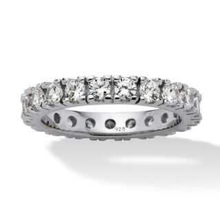 Sterling Silver Cubic Zirconia Eternity- Bridal Ring - White