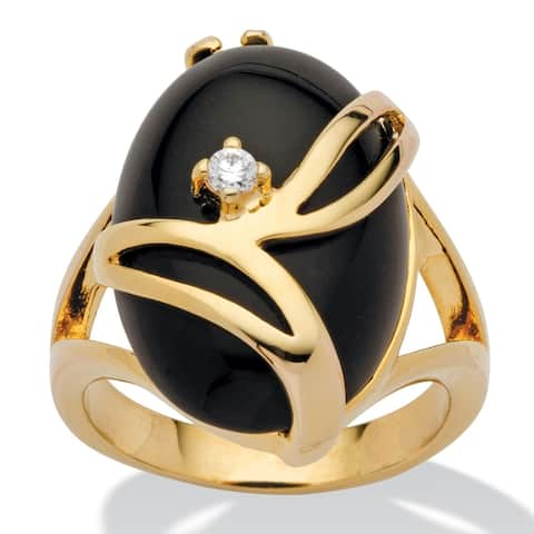 Yellow Gold-Plated Natural Black Onyx and Round Crystal Ring