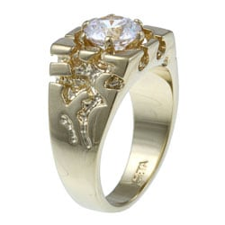 Men's 2.00 TCW Round Cubic Zirconia 14k Yellow Gold-Plated Nugget-Style Ring - Thumbnail 1