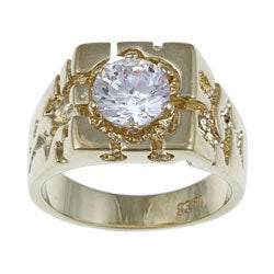PalmBeach Men's 2.00 TCW Round Cubic Zirconia 14k Yellow Gold-Plated Nugget-Style Ring