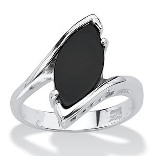 Sterling Silver Natural Black Onyx Ring
