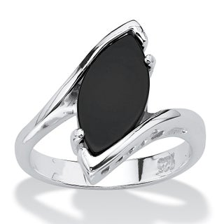 Marquise-Shaped Genuine Onyx Sterling Silver Classic Ring Naturalist (4 options available)