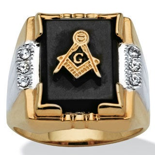 Men's Genuine Onyx and Crystal Two-Tone Masonic Ring 14k Gold-Plated Sizes 8-16