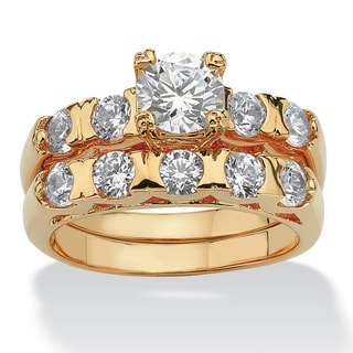 PalmBeach Highly Polished CZ 14k Gold Overlay Round-cut Cubic Zirconia Bridal Ring Set Classic CZ
